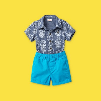 Baby Boys' Pineapple' All Over Print Top and Bottom Set - Cat & Jack™ Blue