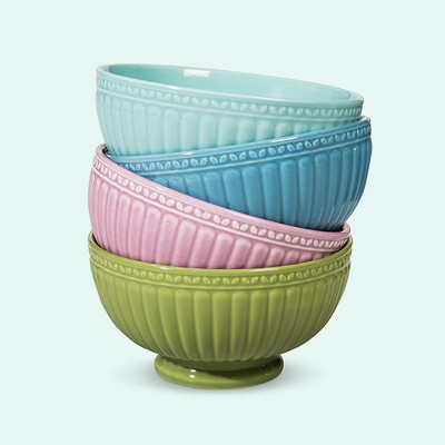 Camille Assorted Cereal Bowl Set Solid Multicolored 4pc