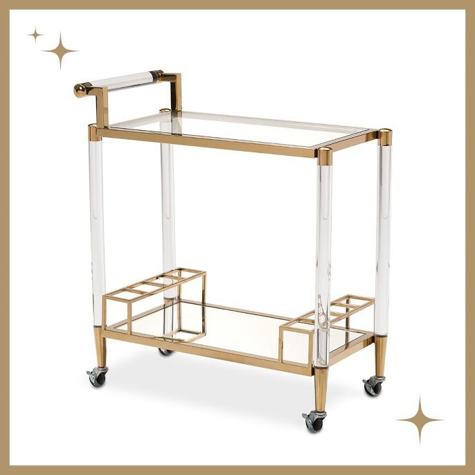Modern 2-Shelf Lucite and Stainless Steel Bar Cart - Gold - ZM Home