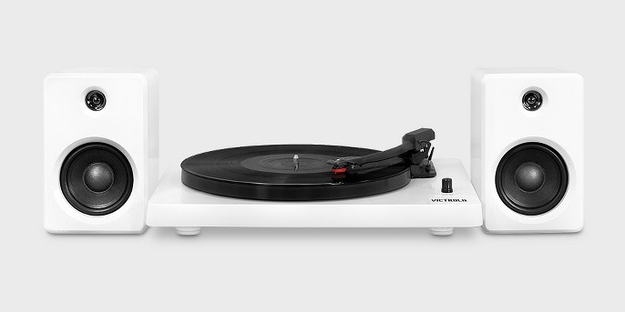 Victrola Record Player with Bluetooth, 50 watt Speakers and 3 Speed Turntable, White