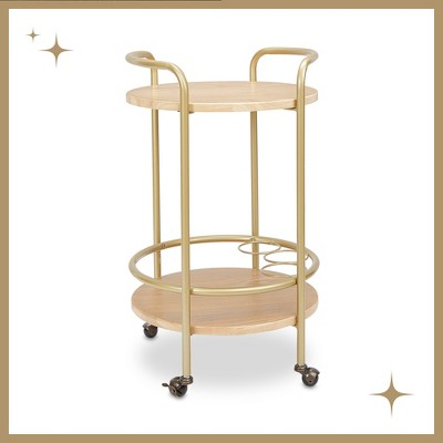 London Round 2 Tier Bar Cart - Ash Veneer - Silverwood