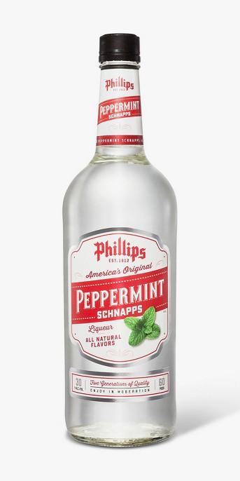 Phillips 60 proof Peppermint Schnapps - 1L Bottle