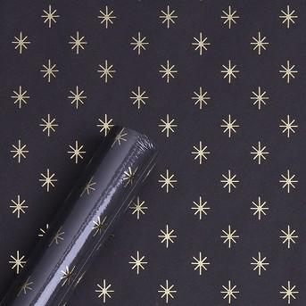 Roll Wrap Foil Mini Star Gift Wrap Black/Gold - Spritz™