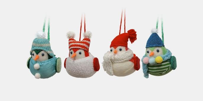 4ct Merry Lane Fabric Mini Birds Christmas Ornament Set - Wondershop™
