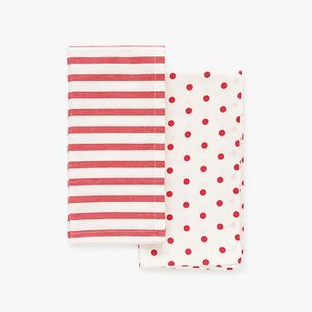4ct Red Stripe and Polka Dot Napkins - sugar paper™
