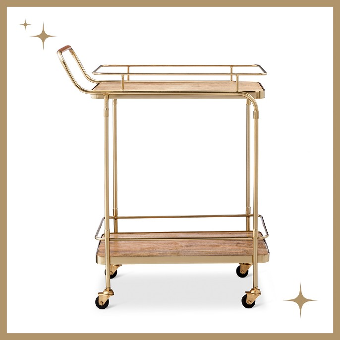 Metal, Wood, and Leather Bar Cart - Gold - Threshold™