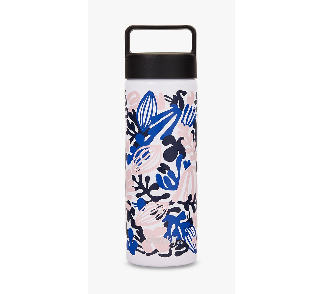 CheekyGo™ Insulated Stainless Steel Water Bottle - Purple/Pink Floral Print 20oz