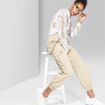 Women's Twill Utility Cargo Pants - Wild Fable™ Khaki