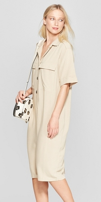 Women's Short Sleeve Duo Front Pocket Button Detail Utility Dress - Who What Wear™