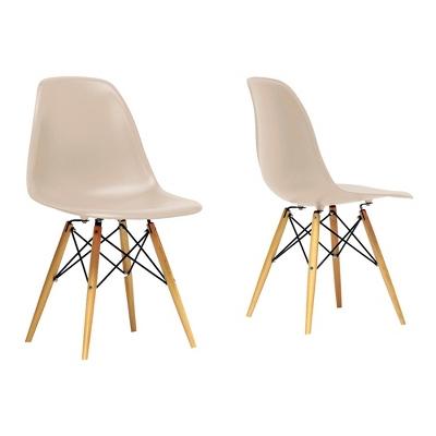 Azzo Plastic Mid-Century Modern Shell Chair - Beige (Set of 2) - Baxton Studio