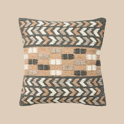 Carine Square Throw Pillow Charcoal/Beige - Safavieh