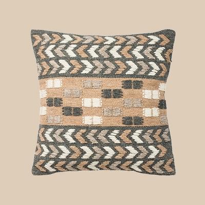 Carine Square Throw Pillow Charcoal/Beige - Safavieh
