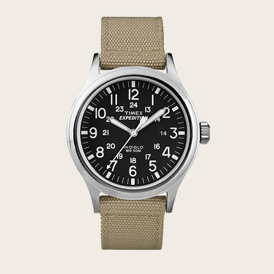 Men's Timex Expedition® Scout Watch with Nylon Strap - Silver/Black/Tan T49962JT