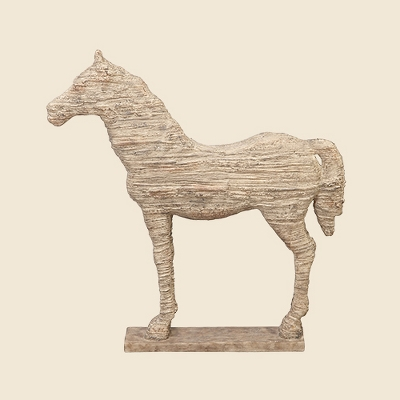 Traditional Carved Horse Sculpture (19