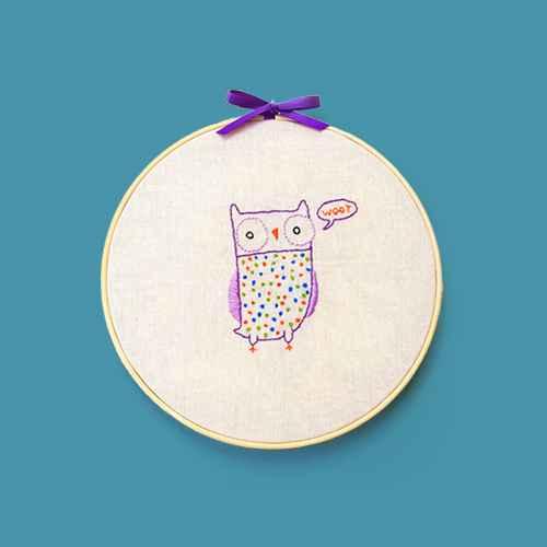 Penguin & Fish Owl Embroidery Wall Art Kit