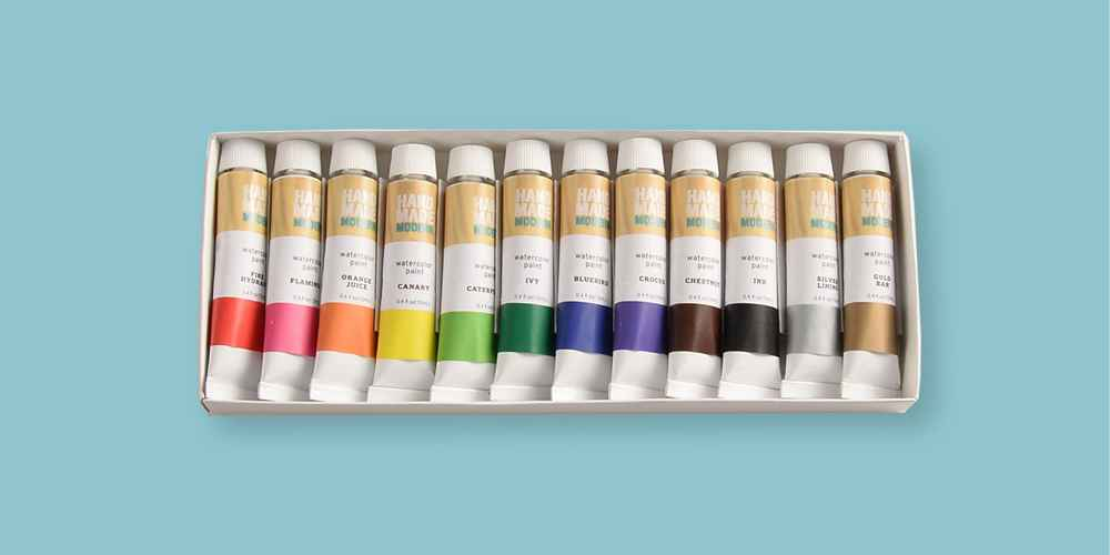 12ct Watercolor Paint Set - Assorted Hand Made Modern®