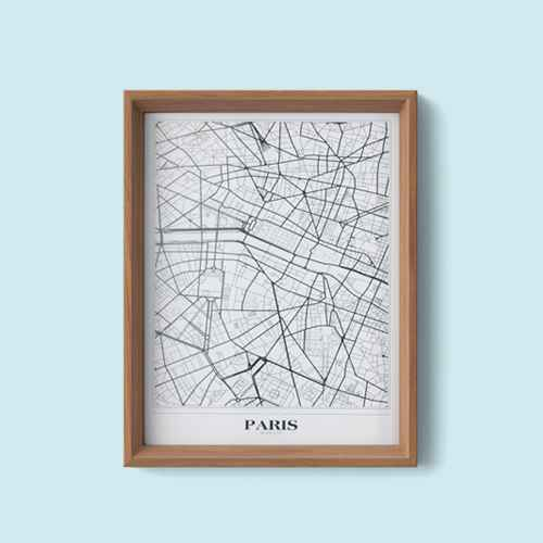 "Set of 2 16""x20"" New York  and Paris Framed Maps - Threshold™"