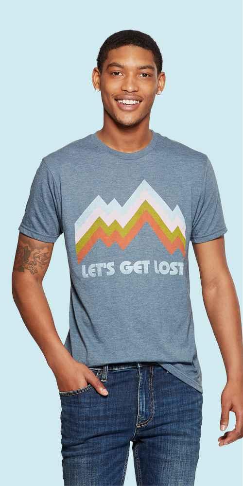 Men's Short Sleeve Let's Get Lost Retro Graphic T-Shirt - Awake Navy