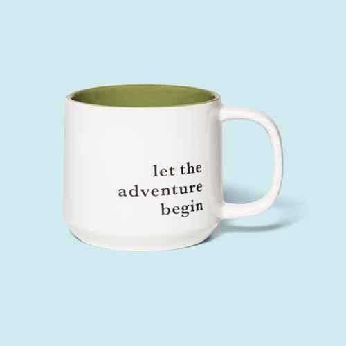 15oz Stoneware Let the Adventure Begin Mug Moss - Threshold™