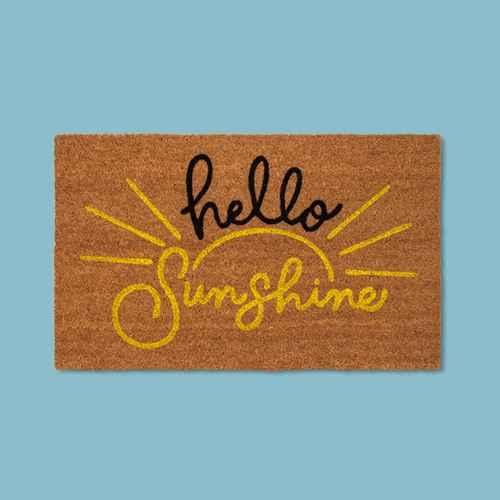 """1'6""""X2'6"""" Hello Sunshine Coir Doormat Beige - Threshold™"""