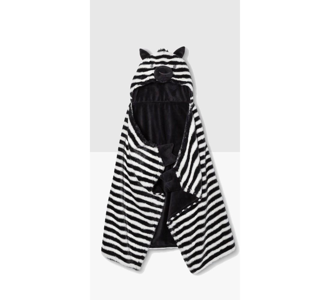 Hooded Baby Blanket Zebra - Cloud Island™ - Black/White