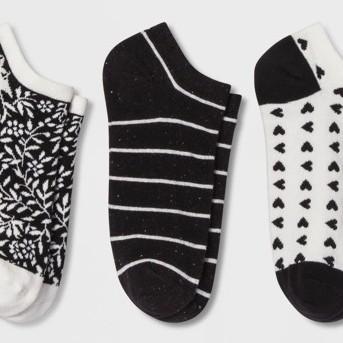 Women's Striped Socks - A New Day™ 3pk Black Dark Off-white One Size
