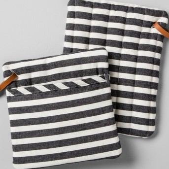 Striped Pot Holder (Set of 2) - Black/White - Hearth & Hand™ with Magnolia