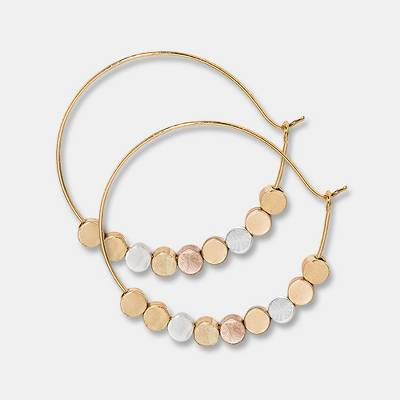 Brass beads Hoop Earrings - Universal Thread™ Gold