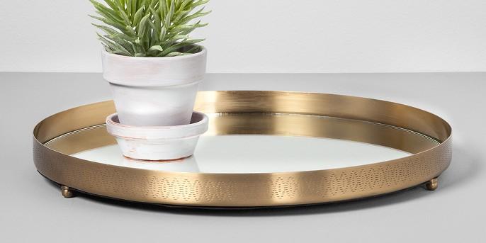 Round Mirrored Brass Tray (14