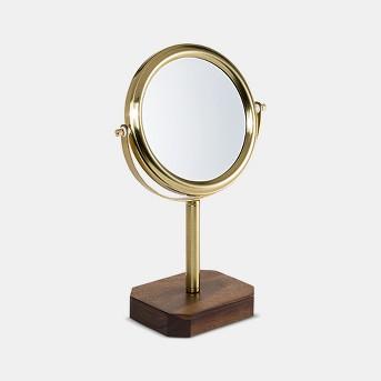 Acacia and Soft Brass Vanity Makeup Mirror Wood - 88 Main