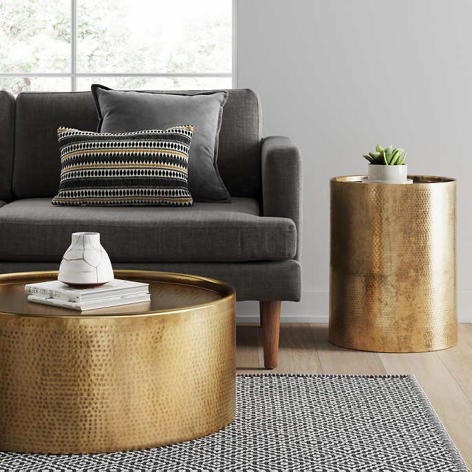Manila Hammered Barrel Coffee Table - Brass - Project 62™