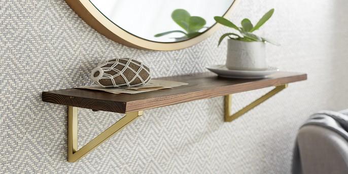 Wall Shelf with Polished Brass Brackets - Medium - Threshold™