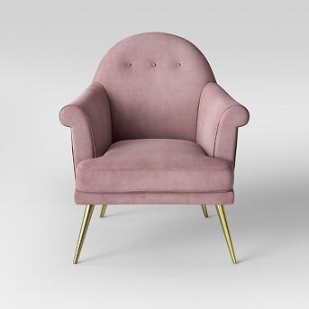 Myna Tufted Velvet Arm Chair with Brass Legs - Opalhouse™