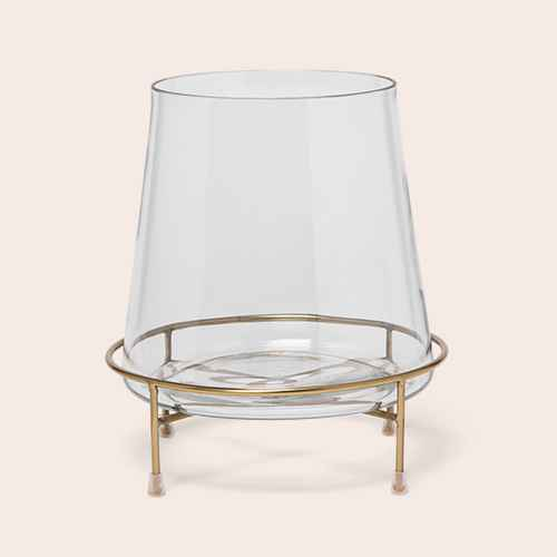 """10"""" x 9"""" Glass Hurricane Pillar Candle Holder with Pedestal Gold/Clear - Project 62™"""