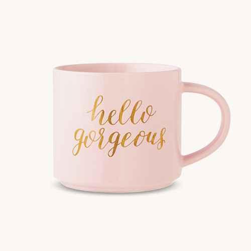 15oz Stoneware Hello Gorgeous Stackable Mug Pink/Gold - Threshold™