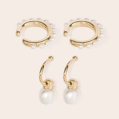 SUGARFIX by BaubleBar Delicate Pearl Earring Set - White/Gold