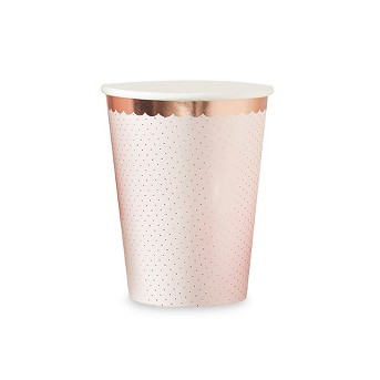 8ct Ginger Ray Rose Gold Foiled Polka Dot Paper Cups Ditsy Floral