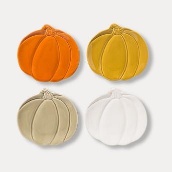 "7"" 4pk Stoneware Pumpkin Appetizer Plates - Threshold™"