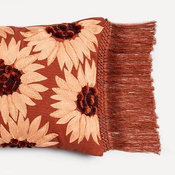 Oversize Lumbar Embroidered Sunflower Pillow Berry - Opalhouse™