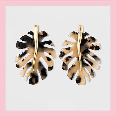 SUGARFIX by BaubleBar Resin Monstera Leaf Earrings