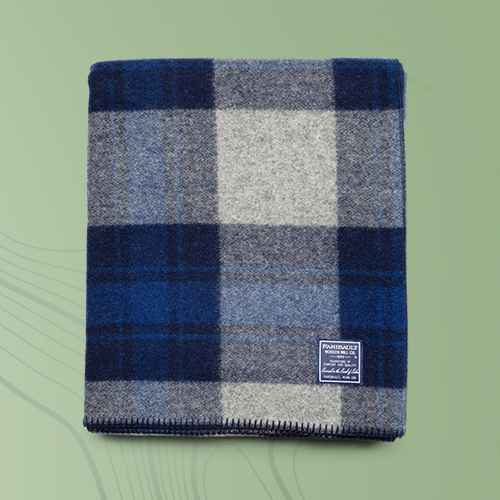 Defender Bed Blanket Blue Plaid - Faribault Woolen Mill