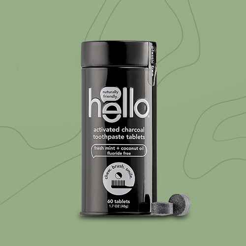 hello Activated Charcoal Whitening Toothpaste Tablets, Natural Mint Fluoride Free - Trial Size - 60ct