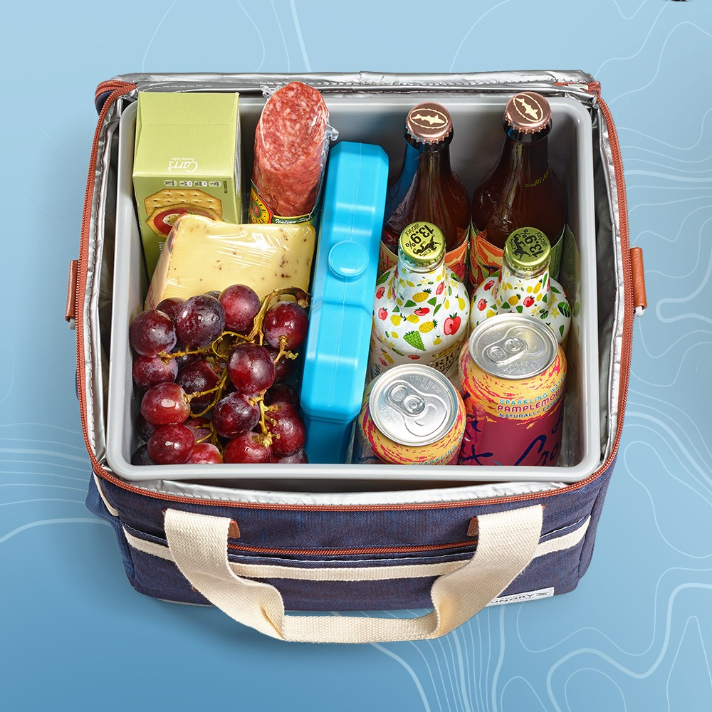 Fit & Fresh Foundry 18.4qt Cooler - Navy, LaCroix Grapefruit Sparkling Water - 8pk/12 fl oz Cans, Organic Red Seedless Grapes - 1.5lb, Columbus Peppered Salame Deli Meats - 8oz, Classic Water Cracker - 4.4oz - Good & Gather™, Igloo Refreezable Ice Block, Van Kaas Mediterranean Gouda Cheese Wedge - 7oz, Bud Light Ritas Margs Sparkling Margaritas Variety Pack - 12pk/12 fl oz Bottles, New Belgium Fat Tire Amber Ale Beer - 6pk/12 fl oz Bottles