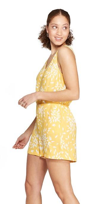 Women's Floral Print Sleeveless V-Neck Romper - A New Day™