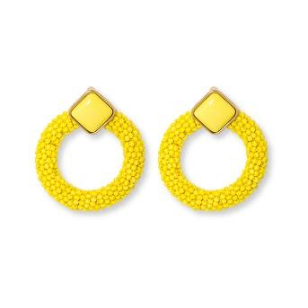 SUGARFIX by BaubleBar Enamel Studs with Beaded Hoop Earrings