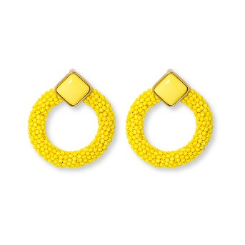 SUGARFIX by BaubleBar Enamel Studs with Beaded Hoop Earrings