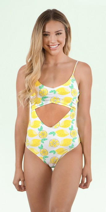 Sugar Coast by Lolli Women's Lemon Cut Out One Piece