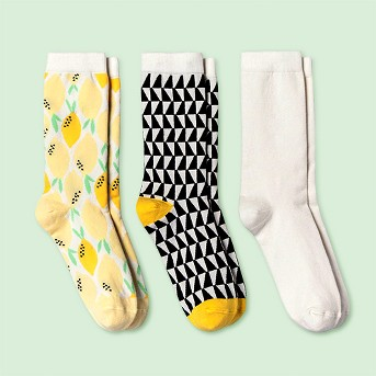 Women's Socks - A New Day™ 3pk Dark Off-white Black One Size