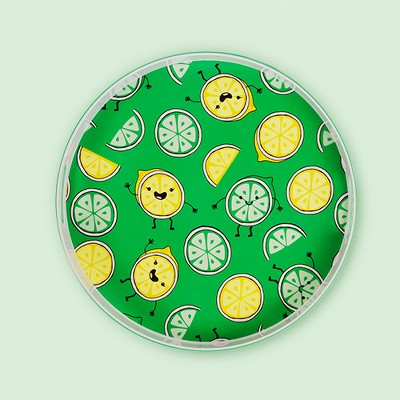 """Round Melamine Serving Tray 15"""" Lemons and Limes - Green"""