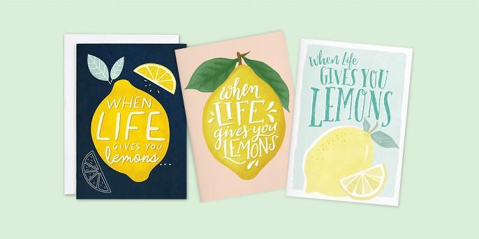 Minted Lemons Card, Minted Squeezing Lemons Card, Minted Life's Lemons Card